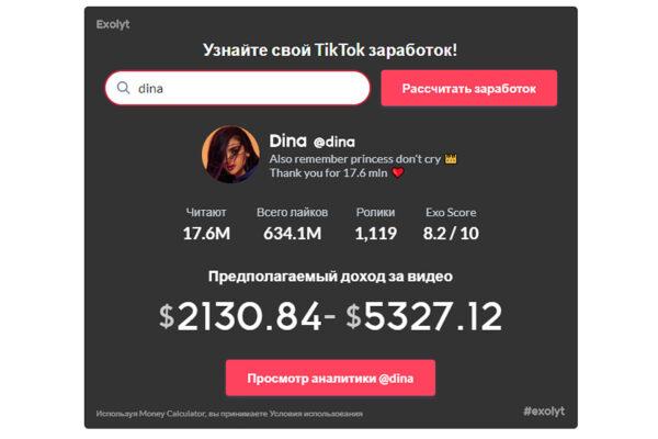 Предполагаемый доход Дины Саевой